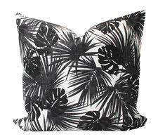 Pillow Room, Pillow Set, Black Feature Wall, Black And White Pillows, White Pillow Covers, Pillow Inspiration, Tropical Home Decor, Patio Pillows, Island Design