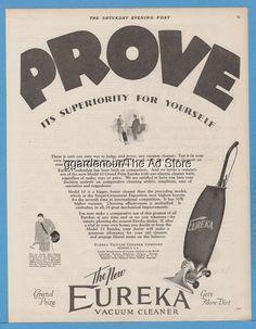 1928 Eureka Vacuum Cleaner Co Detroit Antique Sweeper  Prove It's Superiority Ad