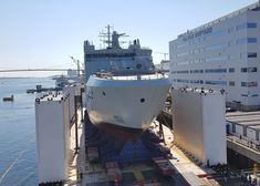 The future HMCS Harry DeWolf transitioned to barge for launch tomorrow