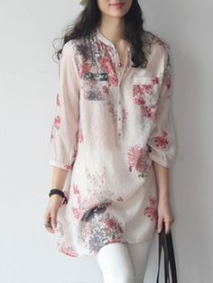 Women's Floral Printed Linen Blend Shirt Loose Sunscreen Blouses Tops US XL Kurti Neck Designs, Kurti Designs Party Wear, Blouse Designs, Floral Print Shirt, Printed Blouse, Printed Linen, Floral Blouse, Floral Tops, Elegantes Outfit Damen
