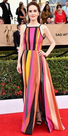 See All the Celebrity Looks from the 2017 SAG Awards Red Carpet - Michelle Dockery from InStyle.com