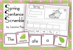 Kindergarten First Grade Sentence Scramble with Cut and Paste Worksheets - Spring Theme. There are 22 sentences to build and includes differentiated worksheets. Kindergarten Homework, Kindergarten Language Arts, Teaching Language Arts, Teaching Kindergarten, Teaching Reading, Teaching Ideas, Word Work Activities, Spring Activities, Kindergarten Activities