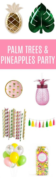 Looking for a fun summer party theme? What about a Palm Springs Chic Pineapple and Palm Trees Party! Pineapple Palm Tree Party Supplies | Pretty My Party