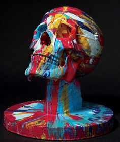 """""""Happy Head No. 7"""" by Damien Hirst- skull art-splatter paint-changing the way we see contemporary art and trends"""