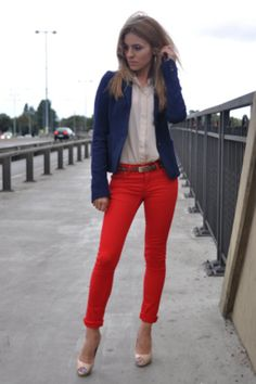 red pants + navy blazer + white button up