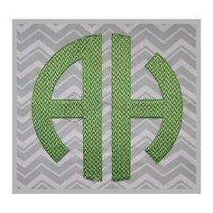 Stitchtopia Circle Monogram 2 Letter Chevron Pattern Fill Embroidery ...