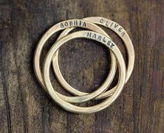 14k Yellow Gold Personalized Hammered Rings  by monkeysalwayslook