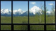The view from Jackson Lodge lobby, Colter Bay, Grand Teton National Park, Wyoming, U.S.A.