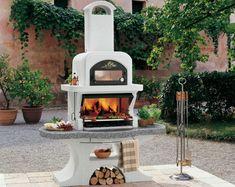 barbecue de jardin blanc de design élégant avec grille en acier inox et four