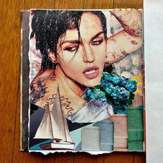 Rebel Rebel - art journal page.  I used white paint to mute the images in the background.  This page has a lot of random images thrown together, not for their subject matters, but for their shapes and colors.  #artjournalpager #artjournalpages #artjournal #artjournaling #mixedmedia #mixedmediaart #collagejournal