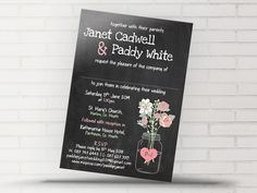 Bohemian style Blackboard Chalk Board Effect Background with Mason Jar and couples initials. Flowers of any colour and chalk themed fonts are all fully editable. Blackboard Wedding, Blackboard Chalk, Ireland Uk, Bohemian Style, Boho, Now And Forever, Blackboards, Chalk Board, Rsvp