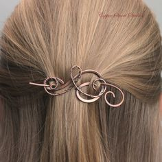 Hair Clip Women, Hair Barrette, Hair Pin, Hair Stick, Small Copper Wire Wrapped Swirls, Hair Accessories For Women Gift For Her