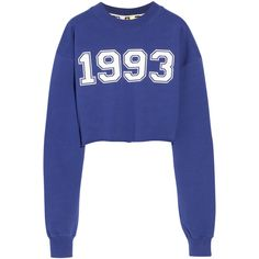 MSGM Cropped cotton-terry sweatshirt (£54) ❤ liked on Polyvore featuring tops, hoodies, sweatshirts, sweaters, shirts, crop top, royal blue, royal blue sweatshirt, blue shirt and cuff shirts