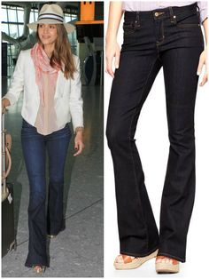Wear: The trick for pear shapes is to balance your hips and show off your biggest asset -- your small waist. So, a pair of high-waisted denims in a bootcut or wide-leg style are great as they'll skim hips. Follow the lead of pear pin-up Jessica Alba.