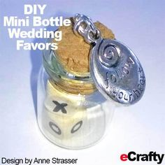 """Look at this sweet wedding favor idea Anne created! She used eCrafty.com's wooden alphabet beads SKU 1216D and our mini bottles SKU 1200V to create these adorable wedding favors. Topped with """"Follow your Dream"""" charm from www.eCrafty.com #wedding #favor #minibottle #messageinabottle #diyweddingfavors #message #xoxo #love #cork #glass #beads #crafts #diy #charms #frugal #diyfavors #party #shower #diyshower Bottle Jewelry, Bottle Charms, Sweet Wedding Favors, Wedding Ideas, Alphabet Beads, Wedding Bottles, Wooden Alphabet, Miniature Bottles, Diy Shower"""