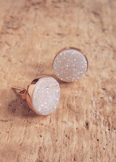 Natural Druzy Rose Gold Studs, Druzy Studs, Druzy Earrings, Drusy Quartz…