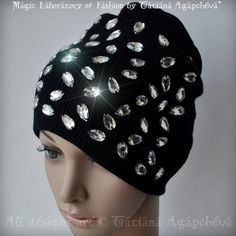 Rhinestones Beanie Hat Skull Cap Ski knit Fashion by TianaCHE, $60.00