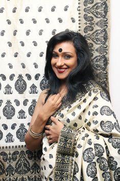 Black and white Muga Silk, mekhla chader