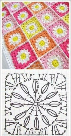 Easy to make crochet granny square pattern. Free crochet chart by Color'n creamColor 'n Cream Crochet and Dream: New Flower Squarecrochê passo a passo ( Motifs Granny Square, Crochet Motifs, Granny Square Crochet Pattern, Crochet Mandala, Crochet Diagram, Crochet Squares, Crochet Chart, Crochet Granny, Granny Squares
