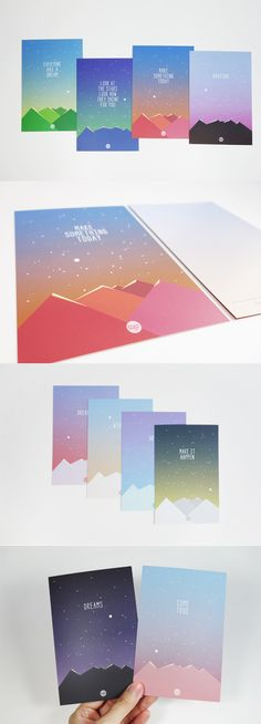 Share the beautiful illustration of stars, sky and mountain with your loved ones and express your love to them! Too cute 💕