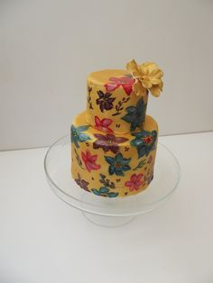 hand painted 2 tier cake.