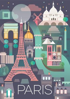 PARIS POSTER #TravelEuropeIllustration #VintageVacation