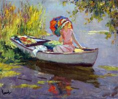 american impressionists | The pink dress 2 - Edward Cucuel Oil Painting