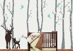 QUICK SHIP Birch Decal with Deer, Birch Decal, Birch with birds, Birch forest, Nursery Birch Trees Wall Vinyl on Etsy, $81.00