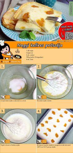 Ha egy kis édességre vágynál, ez a kefíres prósza recept tökéletes választás. Pár hozzávalóból megvan és nagyon finom! A Nagyi kefires prószája recept videóját a kártyán levő QR kód segítségével bármikor megtalálod! :) #NagyiKefiresPrószája #Kefires #Prósza #ReceptVideók #Recept #Reggeli #ReggeliReceptek Hungarian Desserts, Hungarian Recipes, Best Cake Recipes, Cookie Recipes, Dessert Recipes, Kefir Recipes, Winter Food, Easy Cooking, Baking Ingredients