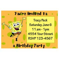 Image Detail for - Spongebob Custom Birthday Party Invitation