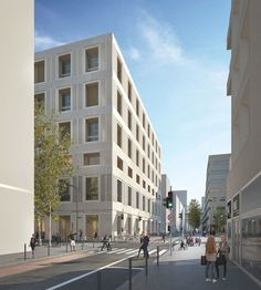 Mixed use development . Lan Architecture, Contemporary Architecture, David Chipperfield Architects, Mixed Use Development, Concrete Stone, Exterior Design, Stone Exterior, Lyon, Street View