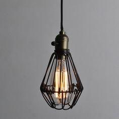 Edison Vintage Pendant Light Chandelier Rustic Wire Cage Ceiling ...