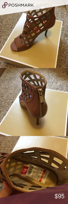 Michael kors open toe bootie I'm selling brand new authentic Michael kors Yvonne open toe bootie size 7.5 color luggage. Michael Kors Shoes Ankle Boots & Booties