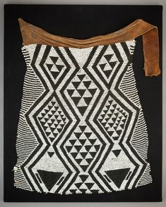 Africa | Beaded apron from the Bayei or Mbukushu people of Botswana | Hide, glass beads and thread | Early 20th century