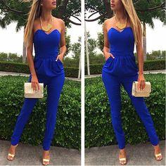 Blue Plain Bandeau Pockets Sexy Long Jumpsuit - Jumpsuit Pants - Bottoms
