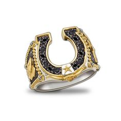 Horseshoe Western Style Ring: Spirit Of The West by The Bradford Exchange Bradford Exchange. $199.00. A lucky horseshoe is the centerpiece of this gorgeous ring, and is set with 12 genuine black sapphires. This handsome Western jewelry is handcrafted in solid sterling silver enhanced with gleaming 24K-gold plating. A Western star anchors the horseshoe and is framed by a longhorn - both are plated in rich 24K gold. A bold men's horseshoe ring that captures the spirit of America'...