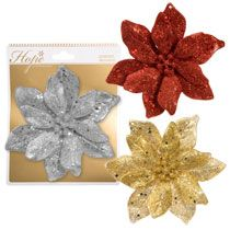 "Bulk Christmas House Glittery Poinsettia Ornaments, 6"" at DollarTree.com"