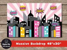 Superhero City Backdrop Girls Play Room Decor 48x30