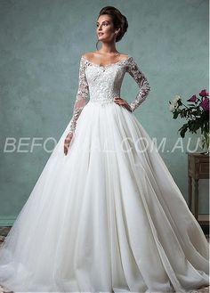 Beformal.com.au SUPPLIES Romantic Tulle Off-the-shoulder Neckline A-line Wedding Dresses With Lace Appliques Vintage Wedding Dresses