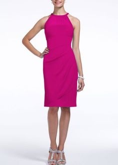 A stylish, short and chic bridesmaid dress that is a flattering look from the bridal party to a cocktail party!  Sleeveless bodice features round illusion mesh neckline.  Ultra-feminine body con fit with side cascade and back ruching finishes off the look.  Fully lined. Back zip. Imported polyester. Dry clean.  To protect your dress, try our Non Woven Garment Bag.