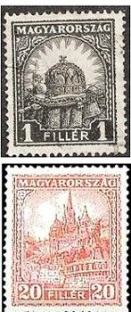 Hungary 1926 two of the definitives introduced that year Postage Stamps, Hungary, Vintage World Maps, Beautiful, Stamps
