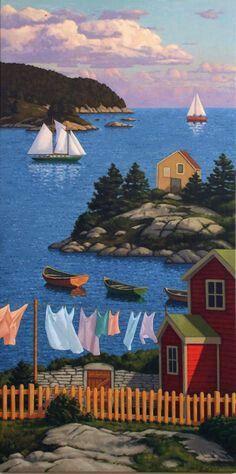 Chromafields — a-sensual-happy-moody-moon: Paul Hannon Henri Rousseau, Art Graphique, Naive Art, Canadian Artists, Whimsical Art, Beautiful Artwork, Art Pictures, Strand, Landscape Paintings