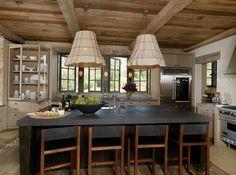 Beautiful wood beam ceiling and burlap lamp shades
