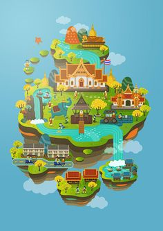 This illustration is about Thailand's culture and many of famous things enjoy!.