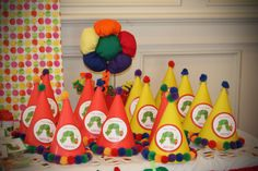 Hats at a Very Hungry Caterpillar Party #veryhungrycaterpillar #partyhats