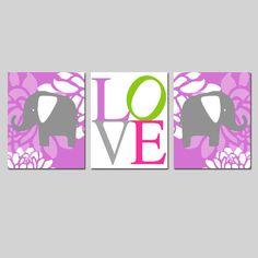 Custom Listing for Peyton  Modern Elephant Love Trio  by Tessyla, $55.00