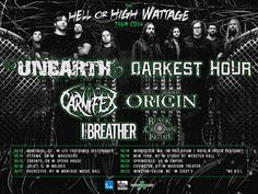 "NEWS: The metal band, Unearth, will be co-headlining the ""Hell Or High Wattage Tour"" with Darkest Hour, in the United States this fall. Carnifex, Origin, I, The Breather and Black Crown Initiate will be supporting the tour. You can check out the dates and details at http://digtb.us/1pn0n6D"