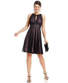 Jessica Howard Sleeveless Keyhole Embellished Dress - Dresses - Women - Macy's