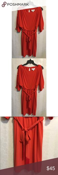 Jessica Simpson burnt orange dress 🔥 Jessica Simpson burnt orange Dress scoop neck with openings on the sleeves. scrunch on the waist for a more figure fitting look. has a strap around the waist with fringe detail.   -No Stains, no holes, no rips, no fading. item is in great conditions.   -Color may slightly vary from photo.  -I work to provide good quality product and the best customer service. All of my items are in great conditions. i would not sale anything in a condition i would not…