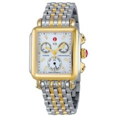 Michele Signature Deco Mother of Pearl 18kt Yellow Gold-plated Watch MWW06P000122 Michele. $837.00. Case Size - 33 mm x 35 mm Dial - Mother of Pearl Strap Size - 18 mm Crystal Type - Sapphire Number of Diamonds - 12 Total Diamond Weight - 0.05 ct. Water Resistant - 5 ATM Movement - Swiss. Save 30%!